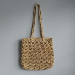 Long Handle Woven Straw Tote Bag